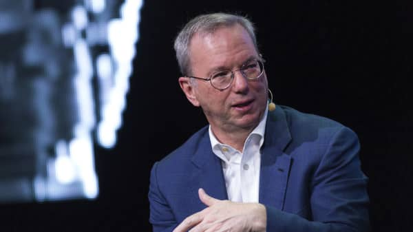 Eric Schmidt, chairman of Alphabet Inc., speaks at the Symposium Stockholm 'Brilliant Minds' technology and music conference in Stockholm, Sweden, on Thursday, June 9, 2016.