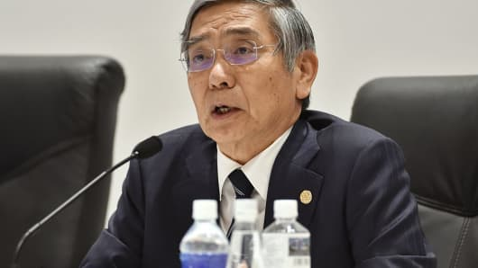 Governor of the Bank of Japan Haruhiko Kuroda answers questions during a press conference in northern Japan on May 21, 2016.
