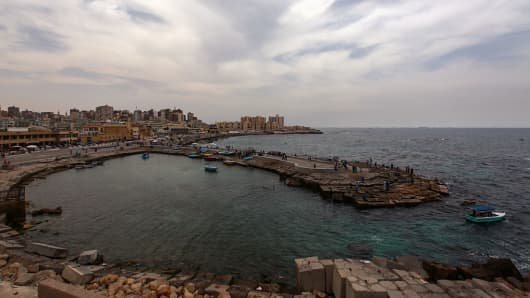 A general view looking out over the Mediterranean Sea from the coastline of Alexandria on May 21, 2016. The main locations of wreckage from the EgyptAir jet that crashed in the eastern Mediterranean last month have been identified by a vessel owned by Deep Ocean Search, the Egyptian-led investigation committee said Wednesday.