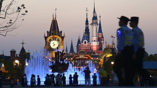 Night view of Shanghai Disney Resort is seen on June 14, 2016 in Shanghai, China.