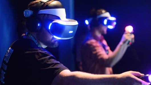 Attendees participate in VR virtual reality during E3 Electronic Entertainment Expo 2016 at Los Angeles Convention Center on June 14, 2016 in Los Angeles.