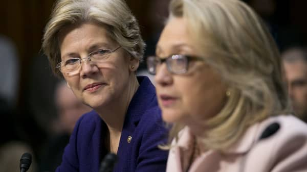 Senator Elizabeth Warren and Democratic presidential candidate, Hillary Clinton