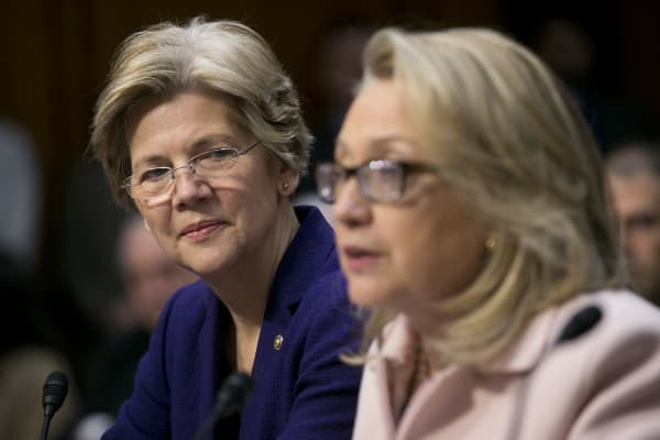 Senator Elizabeth Warren and Democratic presidential candidate, Hillary Clinton