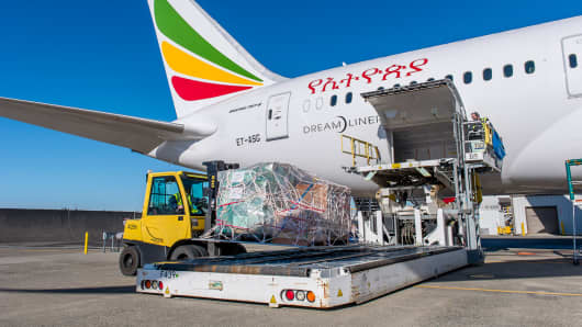 Through its Humanitarian Delivery Flight Program, Boeing has worked with 50 airline customers to deliver more than 1.4 million pounds of supplies. 26 of those flights have been on Ethiopian Airlines planes.