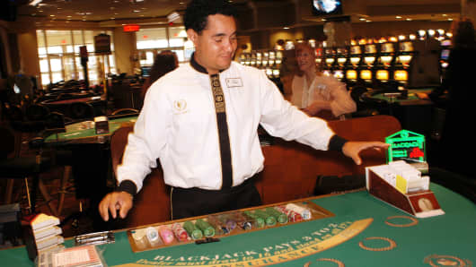 Casino workers in Caesars Atlantic City