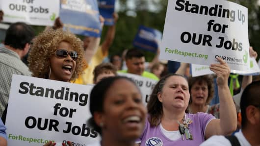 Wal-Mart employees demonstrate against low wages