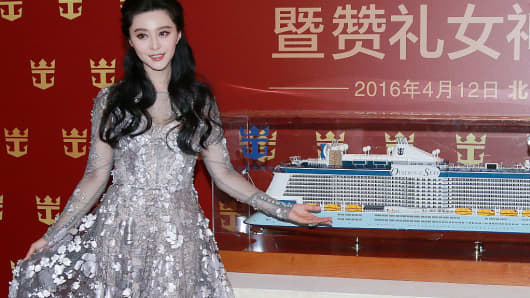 Popular Chinese actress Fan Bingbing attends the maiden voyage press conference of Ovation of the Seas on April 12, 2016 in Beijing, China.