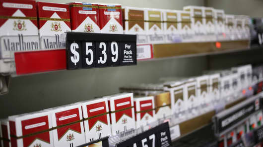 Altria's Marlboro brand cigarettes are displayed for sale at a liquor store in Nashville, Tennessee.