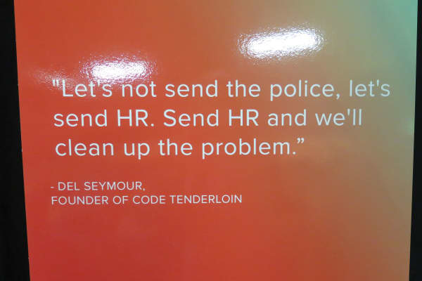 A poster at Code Tenderloin's headquarters in San Francisco