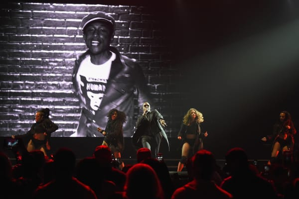 Diddy performs onstage during the Puff Daddy and The Family Bad Boy Reunion Tour presented by Ciroc Vodka And Live Nation at Barclays Center in New York.