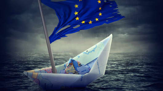 Sinking euro ship with a torn flag