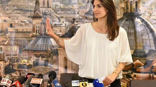 New elected mayor of Rome, Virginia Raggi holds a press conference after winning the election at H10 Roma Citta Hotel in Rome, on June 19 , 2016.