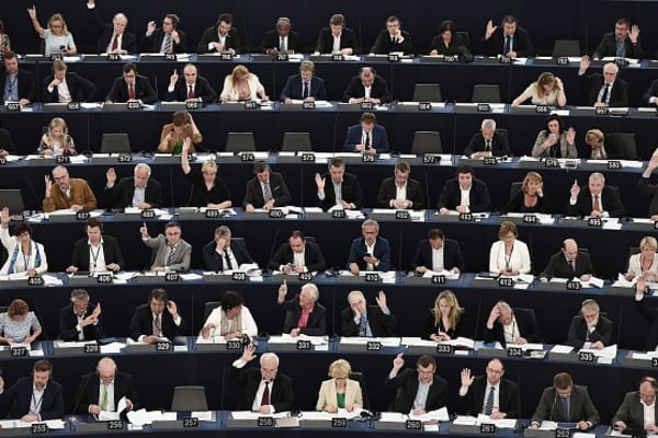 Members of the European Parliament take part in a voting session at the European Parliament in Strasbourg, eastern France, on June 7, 2016.