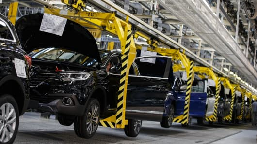 Assembly line for cars, factory
