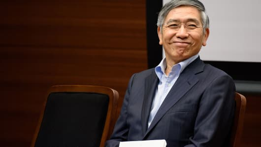 Haruhiko Kuroda, governor of the Bank of Japan (BOJ), reacts during a lecture at Keio University in Tokyo, Japan, on Monday, June 20, 2016.