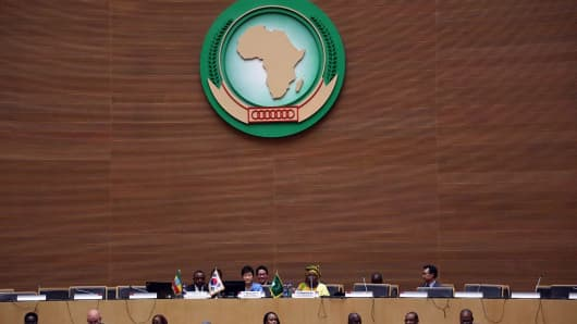 A meeting of the African Union in Addis Ababa in Ethiopia