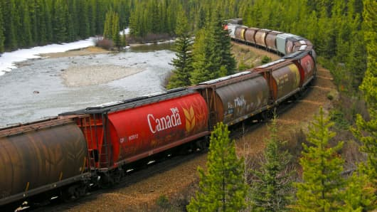 A Canadian Pacific Railway freight train in Alberta, Canada.