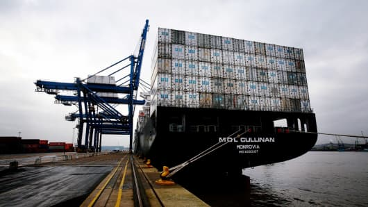 A freight container ship is moored at Tilbury Dock on February 1, 2007 in Tilbury, England.