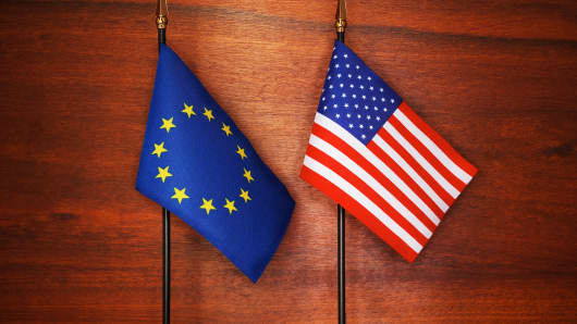 American Flag and European Flag