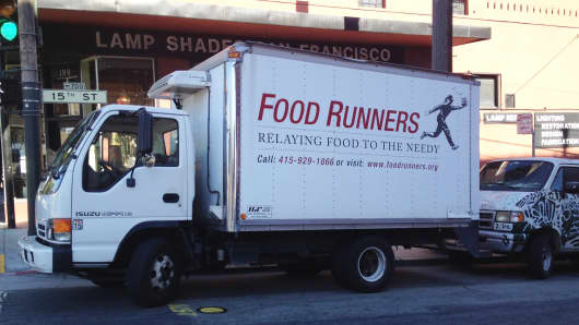 Food Runners' truck in San Francisco, a trunk full of donated food and a biker (volunteer) dropping off food after a food run.