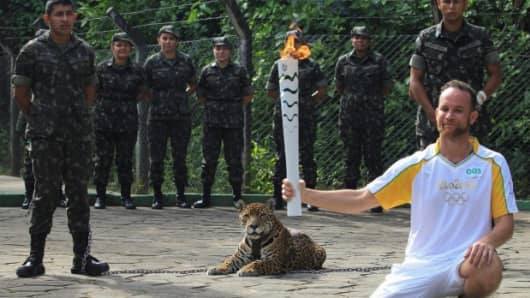A jaguar was shot dead hours after appearing in the Olympic torch relay.
