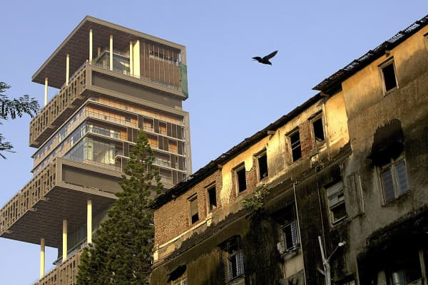 Antilia Tower, the new residence of Mukesh D. Ambani, chairman of India's Reliance Industries Ltd., stands in Mumbai, India, on Thursday, Oct. 28, 2010.