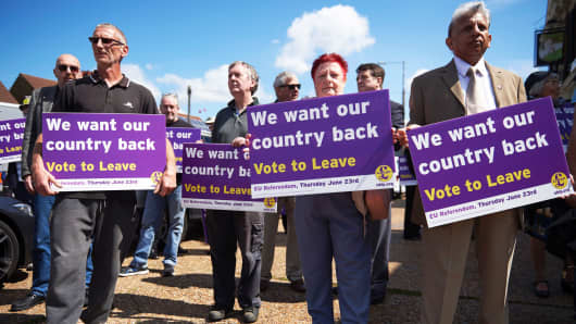 Vote to leave supporters hold placards in London, England.