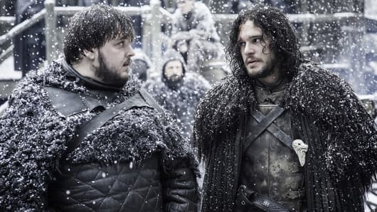 John Bradley as Samwell Tarly and Kit Harington as Jon Snow featured in Game of Thrones