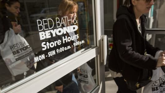 Shoppers exit a Bed Bath & Beyond Inc. store in New York, U.S.