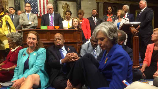 "A photo shot and tweeted from the floor of the U.S. House of Representatives by U.S. House Rep. Katherine Clark shows Democratic members of the House staging a sit-in on the House floor ""to demand action on common sense gun legislation"" on Capitol Hill in Washington, United States, June 22, 2016."