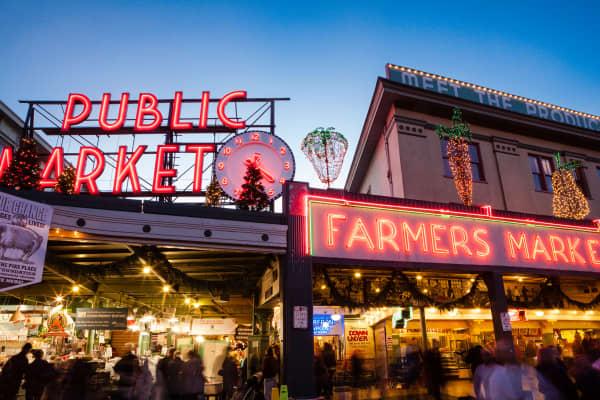 Pike Place market in Seattle Washington.