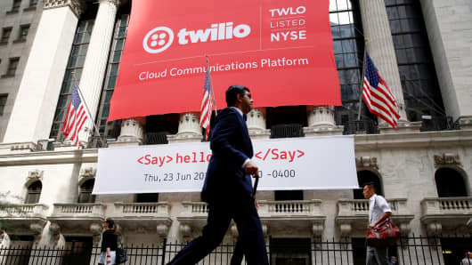 A banner for communications software provider Twilio hangs on the facade of the New York Stock Exchange to celebrate the company's IPO in New York City, June 23, 2016.