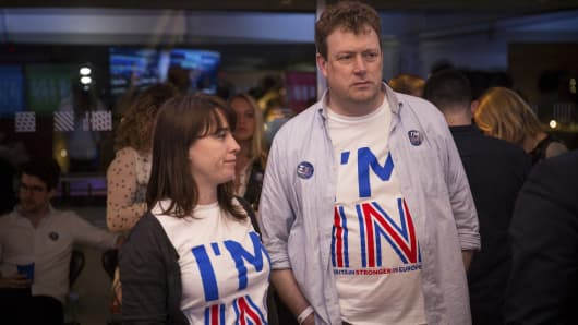 Supporters of the Stronger In Campaign react as results of the EU referendum are announced at the Royal Festival Hall on June 24, 2016 in London, United Kingdom.