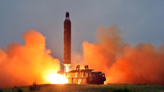 A test launch of ground-to-ground medium long-range ballistic rocket Hwasong-10 in this undated photo released by North Korea's Korean Central News Agency (KCNA) on June 23, 2016.