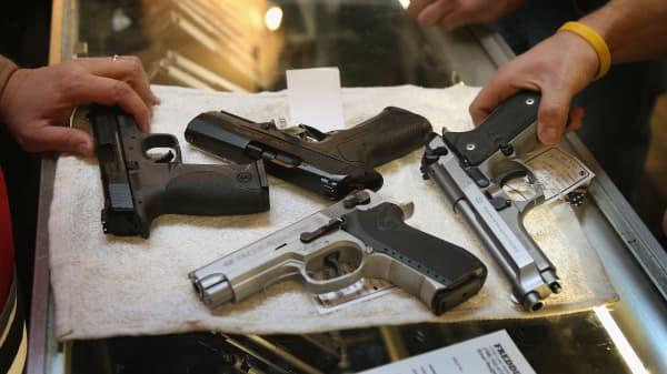 Guns on display in a gun shop