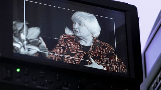 The monitor on a video camera shows Federal Reserve Chair Janet Yellen as she speaks at Radcliffe Institute for Advanced Studies at Harvard University in Cambridge, Massachusetts.