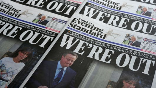 Newspapers pictured in London on June 24, 2016.