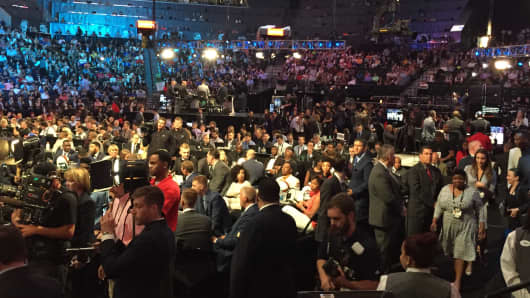 A shot of the floor at Barclays Center on the night of the 2016 NBA Draft.