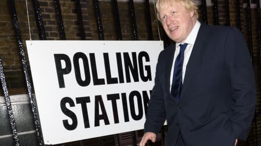 Boris Johnson leaves after casting their votes at a polling station on the EU Referendum in London, United Kingdom on June 23, 2016