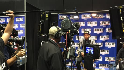 Brandon Ingram, second overall 2016 NBA draft pick, in the live shots room.