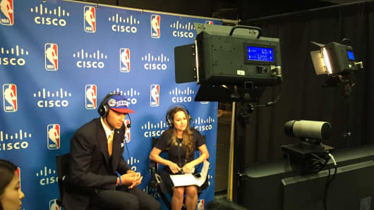 Ben Simmons, first overall 2016 NBA draft pick, speaks to Australian reporters via Cisco link.