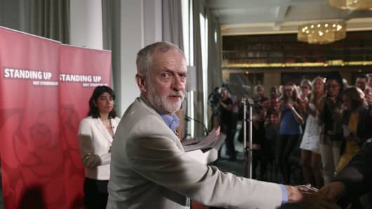Jeremy Corbyn, leader of the U.K. opposition Labour Party, reacts after speaking at a news conference following the U.K. European Union referendum results.