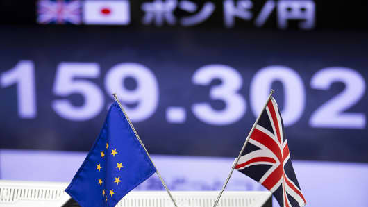 A European Union (EU) flag, left, and a British Union Flag, also know as a Union Jack, stands in front of a monitor displaying the exchange rates of the Japanese yen against the British pound at a foreign exchange brokerage in Tokyo, Japan, on Friday, June 24, 2016.