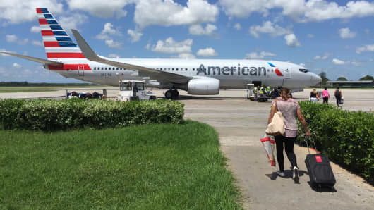 American air craft on Tarmac in Havana on June 27, 2016.