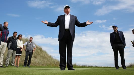 Donald Trump speaks to the media at his Trump International Golf Links in Aberdeen, Scotland, June 25, 2016.