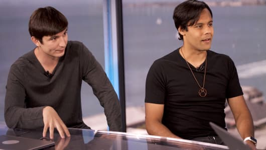 Vlad Tenev and Baiju Bhatt, who co-founded Robinhood.