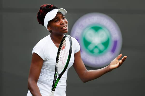 Venus Williams of the United States reacts during her Wimbledon match against Croatia's Donna Vekic, June 27, 2016.