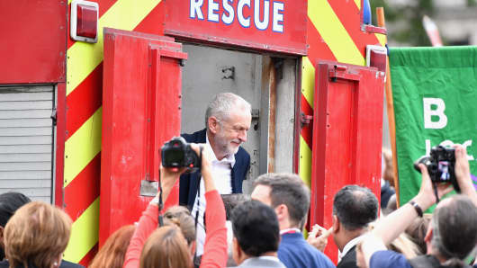Labour leader Jeremy Corbyn after delivering a speech during Momentum's 'Keep Corbyn' rally outside the Houses of Parliament on June 27, 2016 in London, England.