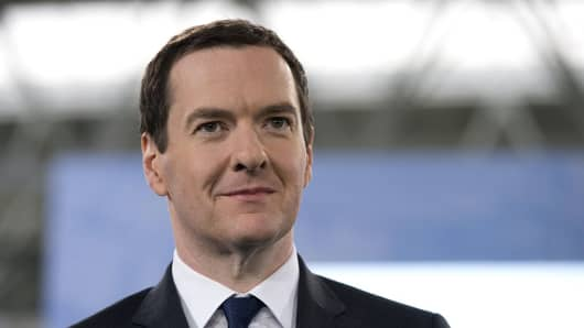 British Finance Minister George Osborne at an event in Manchester, Northern England, on December 8, 2014.