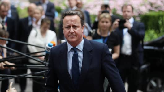 David Cameron arrives for the European Council meeting in Brussels.